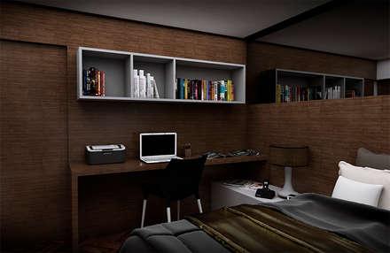 home office : Quartos  por NSFAZ ARQUITETURA E CONSTRUÇÃO