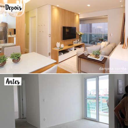 Antes e Depois - Sala de Estar Integrada com Varanda: Salas de estar modernas por Danyela Corrêa Arquitetura