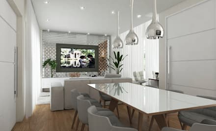 DESIGN DE INTERIORES APARTAMENTO GRAND GARDEN JUNDIAÍ: Salas de jantar minimalistas por Aresto Arquitetura
