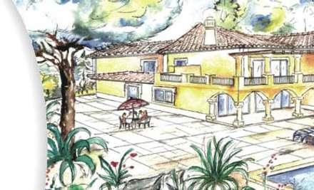 Salones de conferencias de estilo  por ECOSSISTEMAS; Áreas Verdes e Sistemas de Rega.