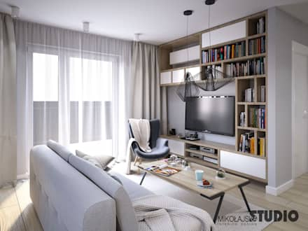 salon w małym mieszkaniu: styl , w kategorii Salon zaprojektowany przez MIKOŁAJSKAstudio