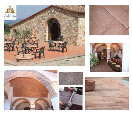 Pavimenti , sottotetto , volte , colonne , cimase , tegole, coppi , gronde , colmo ecc.  per interno ed esterno: Pareti in stile  di Montecchio S.r.l.