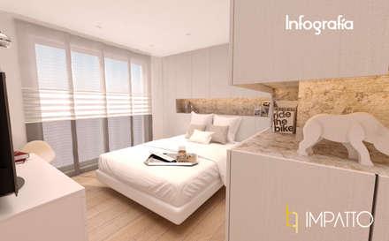 INTERIORISMO: Habitación con vestidor y baño integrados, Ausias March (Valencia): Dormitorios de estilo minimalista de IMPATTO