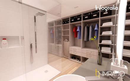 INTERIORISMO: Habitación con vestidor y baño integrados, Ausias March (Valencia): Vestidores de estilo minimalista de IMPATTO