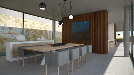 Moradia em Lagos: Salas de jantar minimalistas por Areacor, Projectos e Interiores Lda
