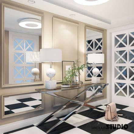 ekskluzywny hall: styl , w kategorii Korytarz, przedpokój i schody zaprojektowany przez MIKOŁAJSKAstudio