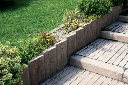 Travessa Teca para criar degraus: Jardins campestres por Fabistone