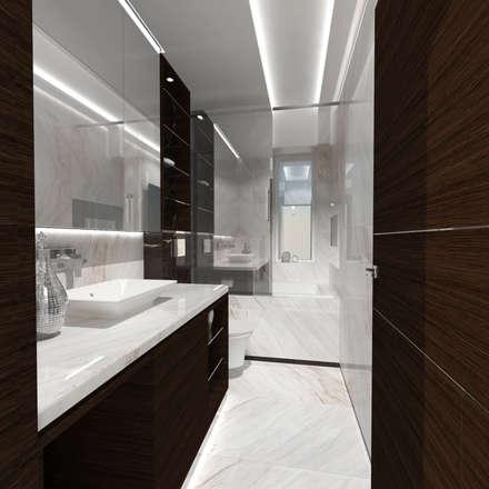 Half & Half Circle Residenence: modern Bathroom by TheeAe Architecture & Interior Design Limited