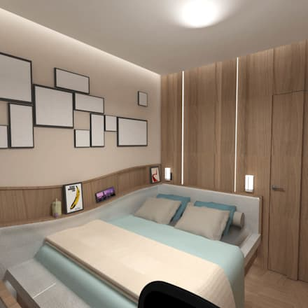 Half & Half Circle Residential: modern Bedroom by TheeAe Architecture & Interior Design Limited
