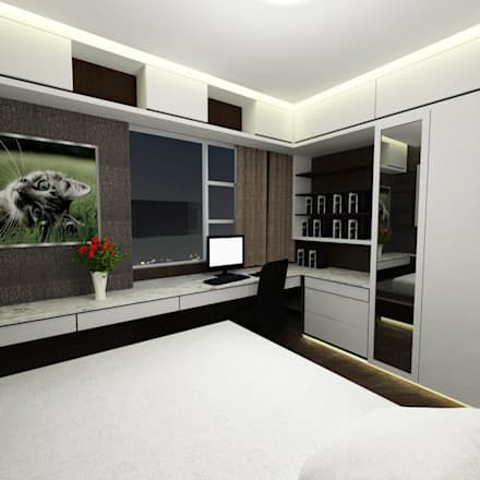 Half & Half Circle Residenence: modern Bedroom by TheeAe Architecture & Interior Design Limited