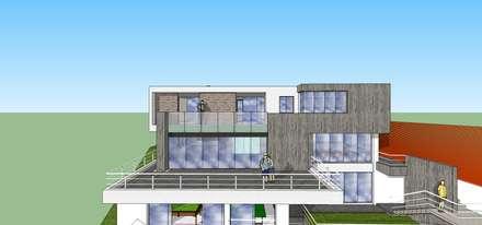 Fachada posterior: Casas de estilo minimalista por MARATEA Estudio