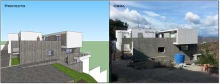 Fachada lateral (Proyecto y obra): Casas de estilo minimalista por MARATEA Estudio