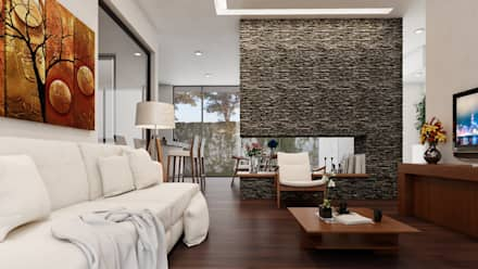 interiores- sala- comedor: Salas de estilo moderno por 3h arquitectos