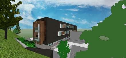 Vista posterior: Casas de estilo minimalista por MARATEA Estudio