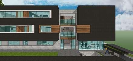 Detalle del nucleo de circulación vertical.: Casas de estilo minimalista por MARATEA Estudio