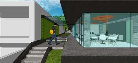 Vista externa de la oficina: Oficinas de estilo minimalista por MARATEA Estudio