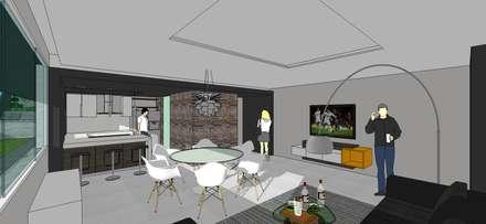 Apto. N°1. Sala-cocina-comedor: Salas / recibidores de estilo minimalista por MARATEA Estudio