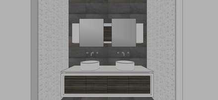 Apto. N°1. baño compartido: Baños de estilo minimalista por MARATEA Estudio