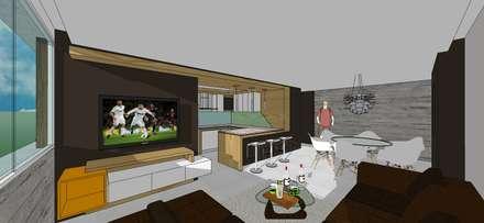 Apto. N°2. Sala-Cocina-Comedor: Salas / recibidores de estilo minimalista por MARATEA Estudio
