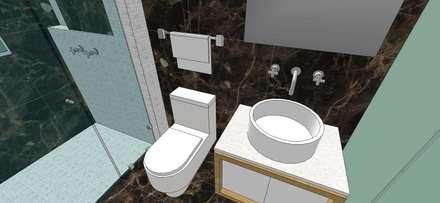 Apto. N°2. Baño habitación principal: Baños de estilo minimalista por MARATEA Estudio