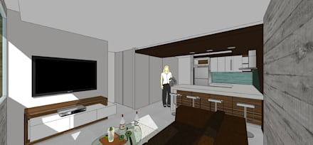 Apto. N°3. Sala -cocina-comedor: Salas / recibidores de estilo minimalista por MARATEA Estudio