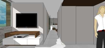Apto. N°3. Pasillo hacia la habitación: Salas / recibidores de estilo minimalista por MARATEA Estudio