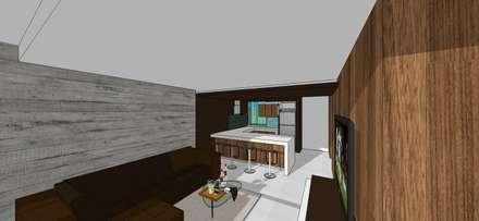 Apto. N°4. Sala-cocina-comedor: Cocinas de estilo minimalista por MARATEA Estudio