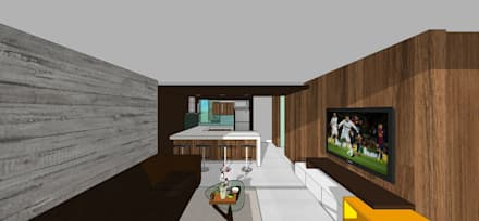 Apto. N°4. Sala-cocina-comedor: Salas / recibidores de estilo minimalista por MARATEA Estudio