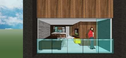 Apto. N°4. Vista externa.: Salas / recibidores de estilo minimalista por MARATEA Estudio