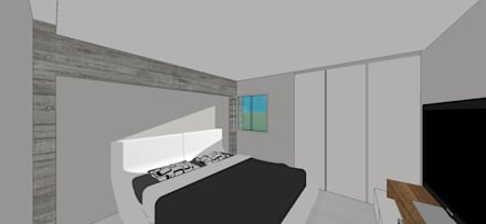 Apto. N°4. Habitación: Cuartos de estilo minimalista por MARATEA Estudio