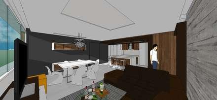 Apto. N°5. Sala-cocina-comedor: Salas / recibidores de estilo minimalista por MARATEA Estudio