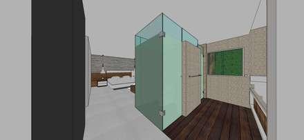 Apto. N°5. baño habitación principal: Baños de estilo minimalista por MARATEA Estudio
