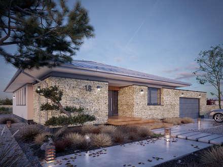 Wizualizacja projektu domu Feniks: styl nowoczesne, w kategorii Domy zaprojektowany przez BIURO PROJEKTOWE MTM STYL