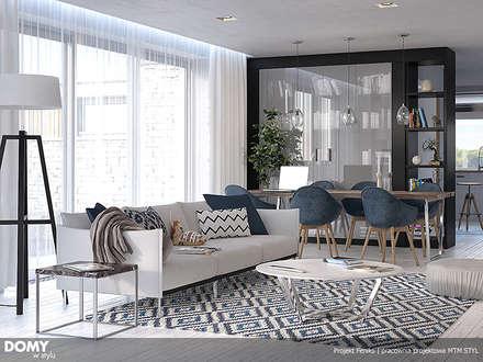 Wizualizacja wnętrza projektu domu Feniks: styl , w kategorii Salon zaprojektowany przez Biuro Projektów MTM Styl - domywstylu.pl