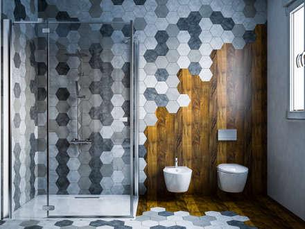 Hexagonal bathroom: Bagno in stile in stile Moderno di mcp-render