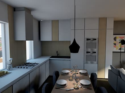 Nuova distribuzione ed arredo: Sala da pranzo in stile in stile Scandinavo di StudioExNovo