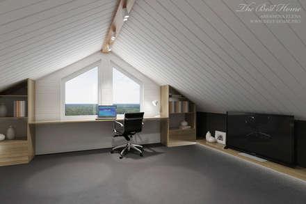 Дизайн интерьера коттеджа в пос.Нагорное: Рабочие кабинеты в . Автор – Best Home