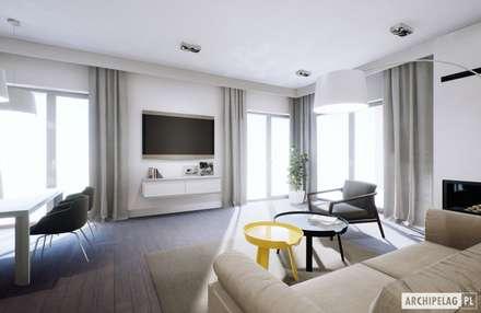 Projekt domu Daniel II G1 z wnętrzem pełnym słońca i ciepła : styl , w kategorii Salon zaprojektowany przez Pracownia Projektowa ARCHIPELAG