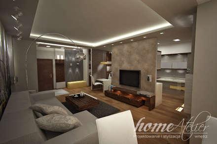 Manchattan na Grzybowskiej : styl , w kategorii Salon zaprojektowany przez Home Atelier