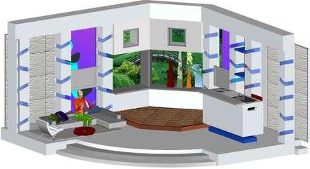 Decorado en estudio para programa de farandula: Salas de entretenimiento de estilo moderno por ERGOARQUITECTURAS FL C.A.