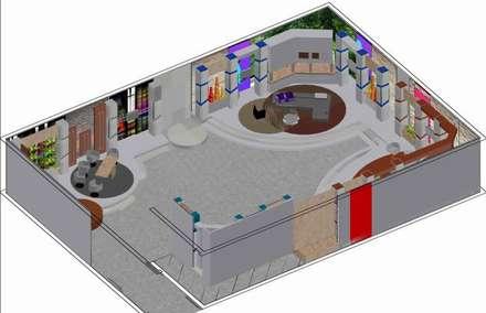 Escenografías ubicadas en  360º: Salas de entretenimiento de estilo moderno por ERGOARQUITECTURAS FL C.A.