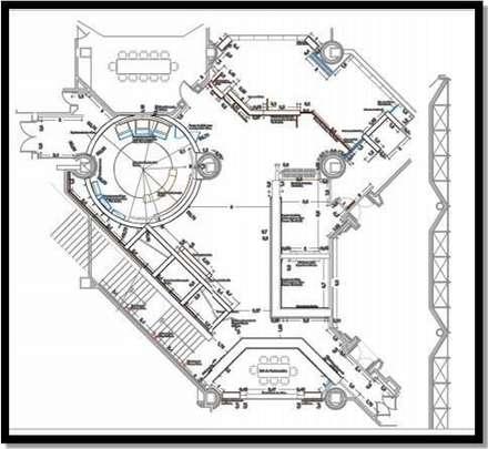 Incorporación en plano de pasillo de circulacion: Oficinas de estilo industrial por ERGOARQUITECTURAS FL C.A.