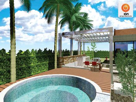 JACUZZI Y LOUNGE EXTERIOR CASA 13, Ciudad Jardin Cali - Colombia: Spa de estilo minimalista por ION arquitectura SAS