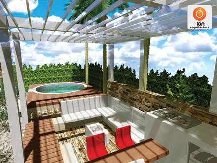 JACUZZI Y LOUNGE EXTERIOR CASA 13, Ciudad Jardin Cali - Colombia: Spa de estilo moderno por ION arquitectura SAS