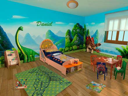 Decoración dormitorio infantil Dinosaurios: Dormitorios infantiles de estilo tropical de lo quiero en mi casa