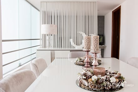 O PODER DE COMPARTIMENTAR: Salas de jantar modernas por HC Interiores