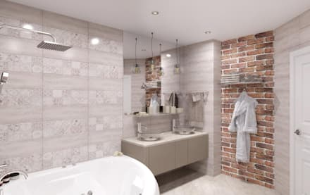 Ванная комната ул. Монтажников: Ванные комнаты в . Автор – Мастерская дизайна Онищенко Марии