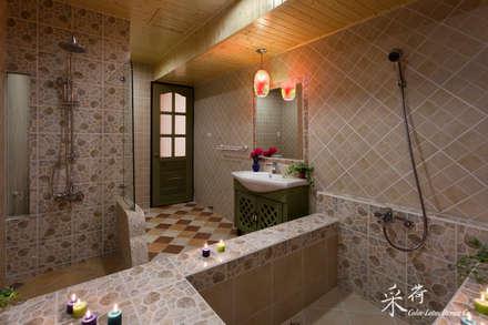 華麗復古,法式鄉村 :  浴室 by 采荷設計(Color-Lotus Design)