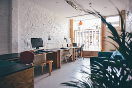 New Studio space with handmade custom furniture and window shutters:  Offices & stores by Woodside Parker Kirk Architects