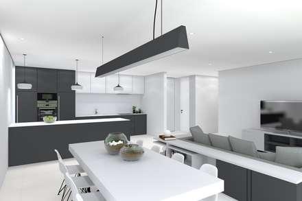 Projeto Ametista: Salas de jantar modernas por Magnific Home Lda